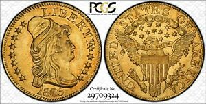 1805 PCGS & CAC MS61 $5 DRAPED BUST GOLD