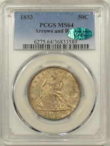 Click now to see the BUY IT NOW Price! 1853 SEATED LIBERTY HALF DOLLAR   ARROWS & RAYS   PCGS MS 64 CAC APPROVED
