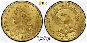 1812 PCGS & CAC MS64  $5 GOLD CAPPED BUST