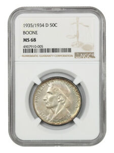 Click now to see the BUY IT NOW Price! 1935/34 D BOONE 50C NGC MS68   LOW MINTAGE ISSUE   SILVER CLASSIC COMMEMORATIVE