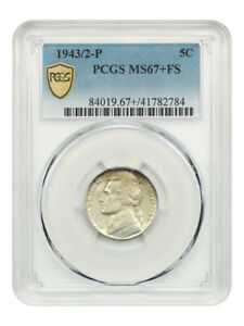 Click now to see the BUY IT NOW Price! 1943/2 P 5C PCGS MS67  FS   FINEST KNOWN    JEFFERSON NICKEL   FINEST KNOWN