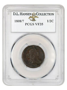 Click now to see the BUY IT NOW Price! 1808/7 1/2C PCGS VF35 EX: D.L. HANSEN    OVERDATE VARIETY