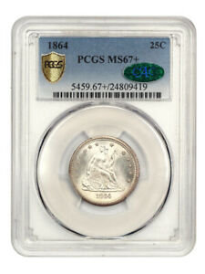 Click now to see the BUY IT NOW Price! 1864 25C PCGS/CAC MS67  GORGEOUS    LIBERTY SEATED QUARTER   GORGEOUS
