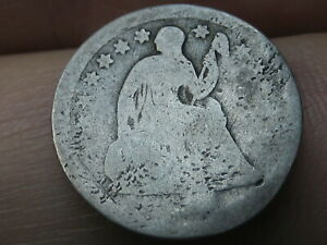 1840 1859 SEATED LIBERTY HALF DIME  WITH DRAPERY