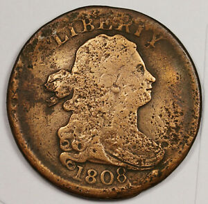 1808 HALF CENT.  ERROR.  MEDALLION REVERSE ROTATED 180DEGREES CIRCULATED 164236
