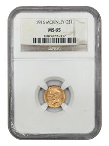 1916 MCKINLEY G$1 NGC MS65   CLASSIC COMMEMORATIVE   GOLD COIN