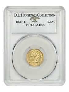 1839 C $2 1/2 PCGS AU55   2.50 EARLY GOLD COIN   TOUGH DATE