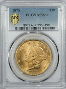 1875 TYPE 2 $20 LIBERTY GOLD DOUBLE EAGLE   PCGS MS 63  AMONG FINEST KNOWN