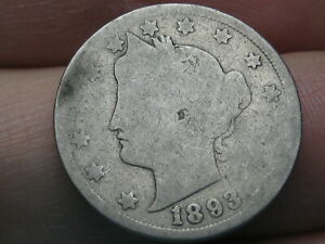 1893 LIBERTY HEAD V NICKEL  ABOUT GOOD DETAILS