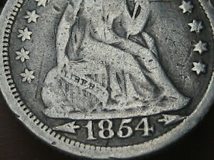 1854 P SEATED LIBERTY SILVER DIME  WITH ARROWS FINE DETAILS
