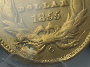 1855 C $1 GOLD INDIAN PRINCESS ONE DOLLAR COIN  PCGS CERTIFIED  CHARLOTTE