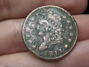 1811 CLASSIC HEAD LARGE CENT PENNY  NORMAL DATE VF OBVERSE DETAILS
