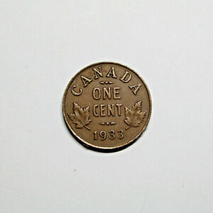 1933 CANADA PENNY 1 CENT COPPER CANADIAN KING GEORGE V COIN