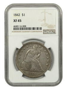 1842 $1 NGC XF45   LOW MINTAGE DATE   LIBERTY SEATED DOLLAR   LOW MINTAGE DATE