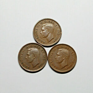 1937 1938 1939 CANADA PENNY 1 CENT COPPER KING GEORGE VI COIN SET