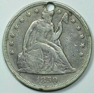 1850 SEATED LIBERTY $1 DOLLAR EXTRA FINE DETAILS XF HOLED CLEANED GRAFITTI