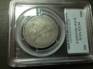 1806/9  6 OVER INVERTED 6  PCGS VF 30  EARLY DRAPED BUST HALF DOLLAR