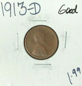 1913 D LINCOLN WHEAT CENT   GOOD  NICE COIN