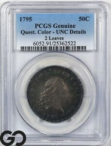 Click now to see the BUY IT NOW Price! 1795 FLOWING HAIR BUST HALF DOLLAR PCGS UNC DETAILS QUEST COLOR 2 LEAVES