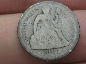 1860 P SEATED LIBERTY SILVER DIME  GOOD DETAILS