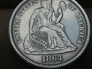 1864 S SEATED LIBERTY SILVER DIME  SAN FRANCISCO XF/AU DETAILS