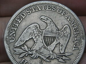 1855 O SEATED LIBERTY HALF DOLLAR NEW ORLEANS FINE/VF DETAILS