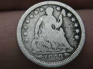 1853 P SEATED LIBERTY HALF DIME  WITH ARROWS VG DETAILS