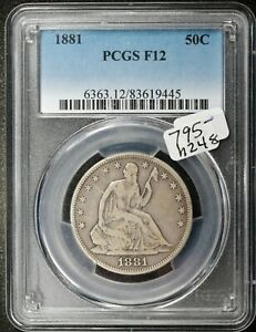 1881 SEATED LIBERTY HALF.  IN PCGS HOLDER.  F12.  H248