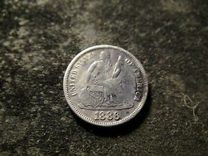 1886 S  VF XF DETAIL SEATED LIBERTY DIME CLEAR DATE AND MINT MARK BBX