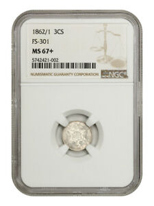 Click now to see the BUY IT NOW Price! 1862/1 3CS NGC MS67   FS 301    3 CENT SILVER   FINEST KNOWN