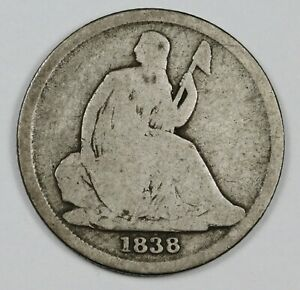 1838 O LIBERTY SEATED DIME.  G VG OBVERSE.  AG REVERSE.  165704