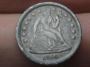 1856 P SEATED LIBERTY DIME  SMALL DATE VF/XF DETAILS
