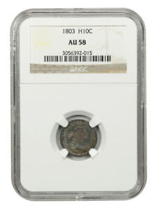 1803 H10C NGC AU58  LARGE 8  EARLY HALF DIMES   BEAUTIFULLY TONED BETTER DATE