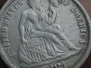 1881 SEATED LIBERTY SILVER DIME  XF OBVERSE DETAILS