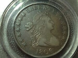 1806/9  6 OVER INVERTED 6  PCGS VF 25  EARLY DRAPED BUST HALF DOLLAR