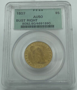 1807 DRAPED BUST RIGHT $5 GOLD PCGS AU50 OLD GREEN HOLDER