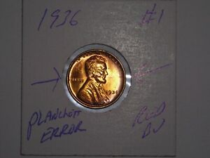 WHEAT PENNY 1936 GEM RED BU PLANCHET ERROR 1936 P LOT 1 RED UNC LINCOLN CENT