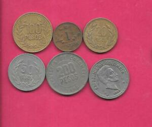 COLOMBIA 6  DIFF DIFFERENT 1957 1995  OLD COIN LOT COLLECTION SET GROUP  W OLD
