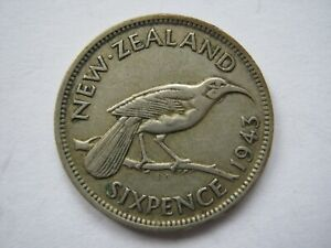 NEW ZEALAND 1943 SILVER SIXPENCE VF