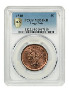 Click now to see the BUY IT NOW Price! 1840 1C PCGS MS64 RD  LARGE DATE  BRAIDED HAIR LARGE CENTS  1839 1857