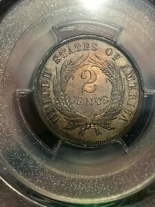 1865 TWO 2 CENT PIECE  PCGS CERTIFIED PROOF COIN