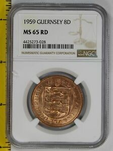 Click now to see the BUY IT NOW Price! 1959 GUERNSEY 8 DOUBLES NGC MS 65 RED  GEM RED