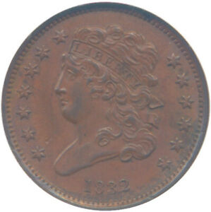 1832 1/2C HALF CENT C 1 NGC MS63 BROWN CONDITION