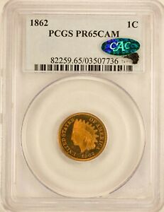GEM PROOF 1862 INDIAN CENT PCGS PR 65 CAMEO CAC  EAGLE EYE SEAL