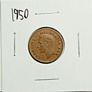 1950 CANADA PENNY 1 CENT COPPER KING GEORGE VI CANADIAN COIN