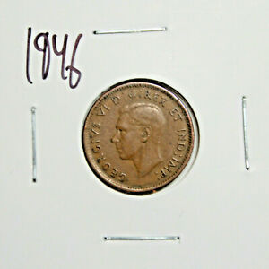 1946 CANADA PENNY 1 CENT COPPER KING GEORGE VI CANADIAN COIN