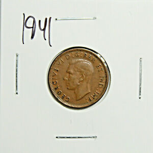 1941 CANADA PENNY 1 CENT COPPER KING GEORGE VI CANADIAN COIN