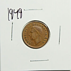 1949 CANADA PENNY 1 CENT COPPER KING GEORGE VI CANADIAN COIN