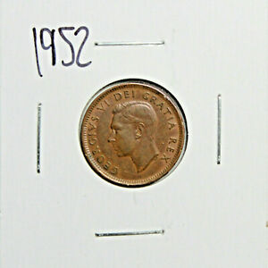 1952 CANADA PENNY 1 CENT COPPER KING GEORGE VI CANADIAN COIN