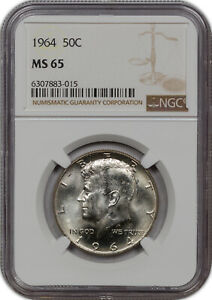 1964 KENNEDY HALF DOLLAR SILVER NGC MS 65 GORGEOUS HIGH GRADE NICE LUSTER